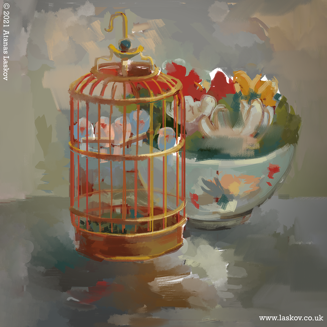 Still Life of a Cage with Birds